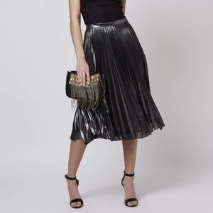 Topshop Silver Black Gray Pleated Skirt 6 NEW